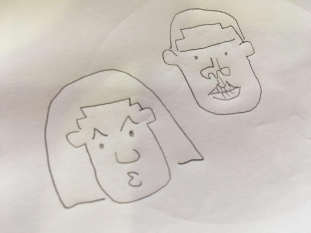 石井さんが書いた私の似顔絵の写真